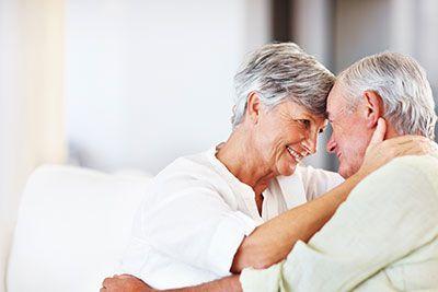 Elderly couple interacting